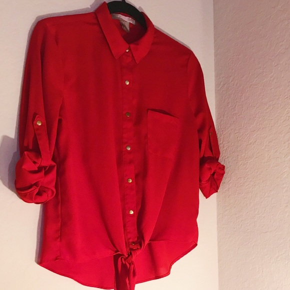 03a714709 Tops | Red Button Up Blouse Tie In Front | Poshmark